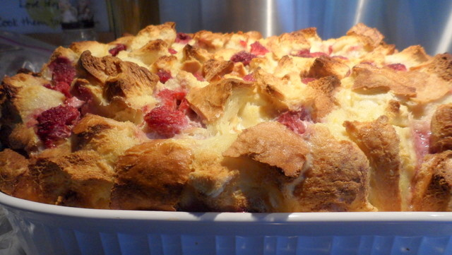 Raspberry Lemon Strata with Maple Syrup