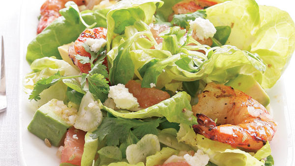 Avocado Fennel & Grapefruit Salad with Grilled Shrimp