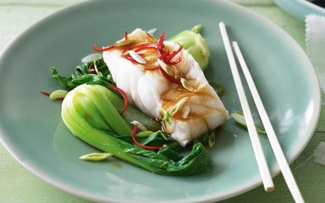 Steamed Ginger-Shallot Fish with Bok Choy and Coconut Rice