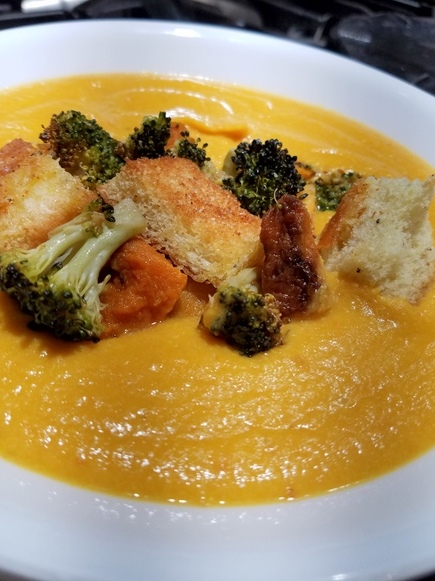 Roasted Carrot Ginger Soup w/ Roasted Veggies and Home Made Croutons