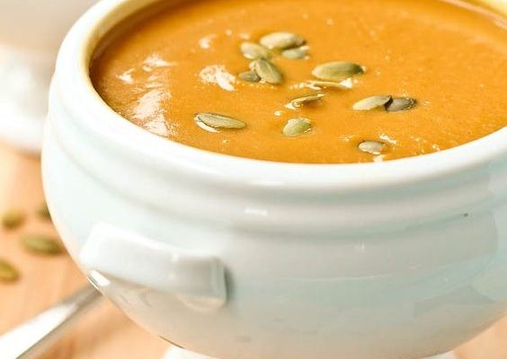 Velvety Acorn Squash Soup with Leeks, Ginger and Coconut