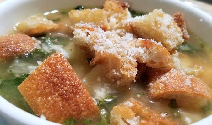 Italian Potato and Bean Soup With Crispy Parmesan Croutons