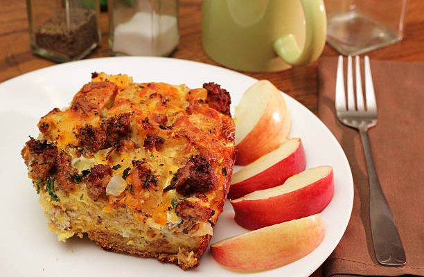 Glazed Onion and Sausage Breakfast Bread Pudding With Apples and Sherry