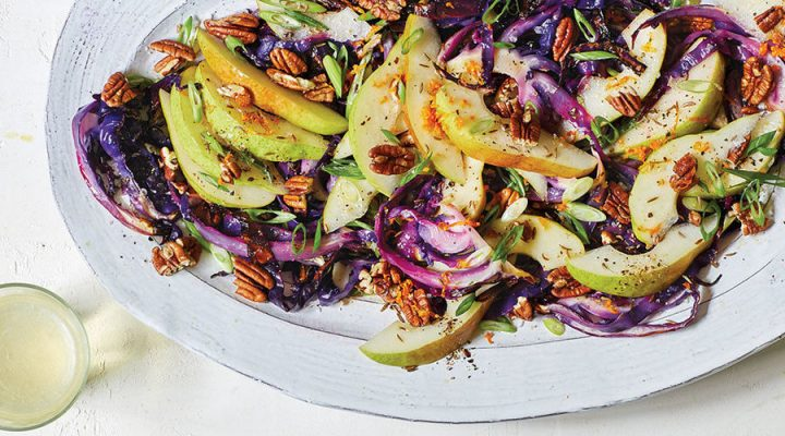 Roasted Cabbage Salad with Pears & Pecans and Pear Brandy Dressing