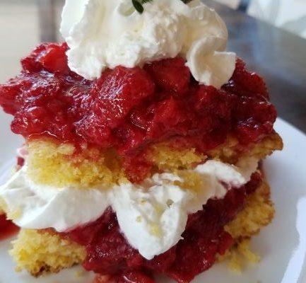 Sweet Rosemary Cornbread with Strawberries & Whipped Cream