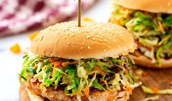Asian Chicken Patties with Sweet & Spicy Sesame Slaw
